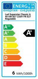 Osram LED Superstar Classic A 40 6W-827 220-240V FR E27 Regulable