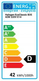 Halogen EcoClassic B35 42W 220V E14 Philips 8727900820584 925646344240