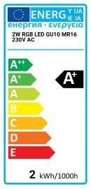 2W RGB LED GU10 MR16 230V AC Dimco Lighting 5291889014652 7305G/RGB